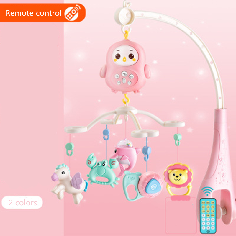 Newborn Baby Toys Teether Rattles Rotating Music Box Crib Mobile Bed Bell With Light Remote Control Early Education Toys