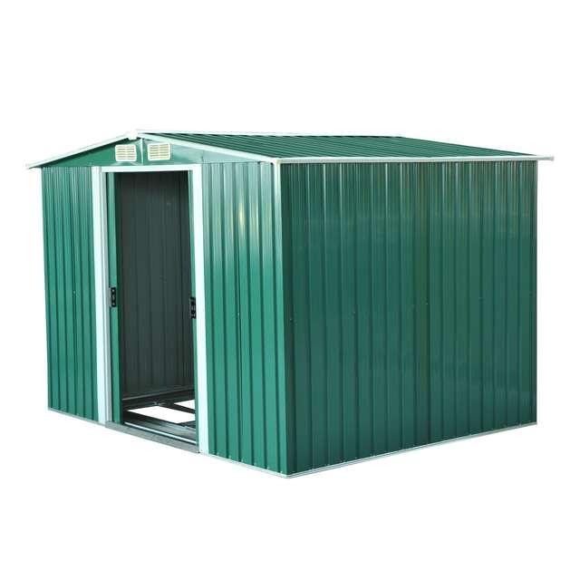 Us 604 1 Outsunny Cobertizo Metalica Tipo Caseta De Jardin Terrazas Galvanizado Almacen Para Herramientas Jardineria 246x192 5x177 5cm On Aliexpress