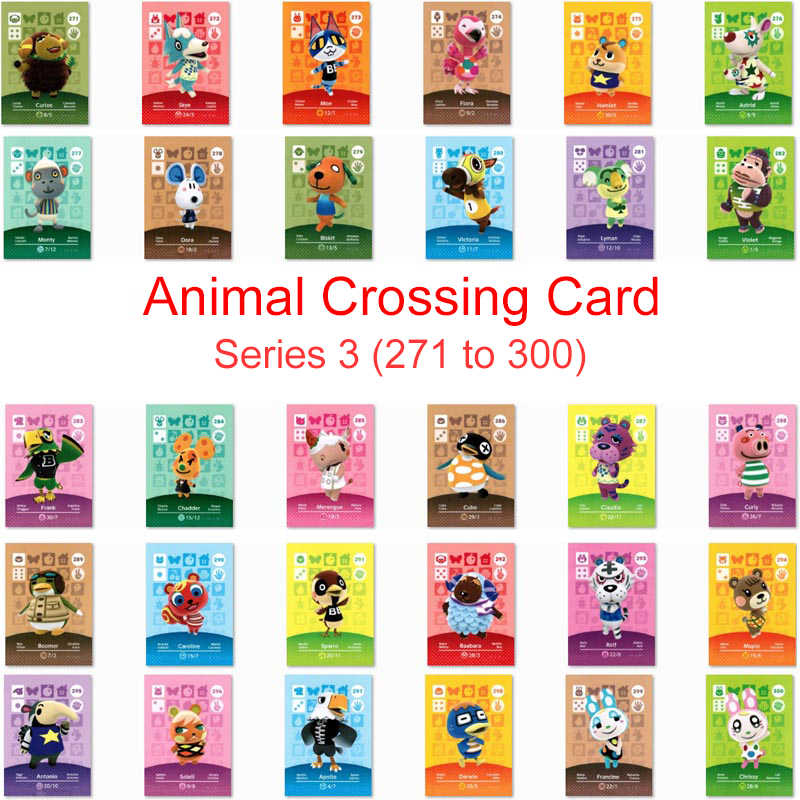 Serie 3 (271-300) animal Crossing Carta di Lavoro Della Carta per NS Amiibo 3DS Gioco Interruttore Amiibo Villager Carta