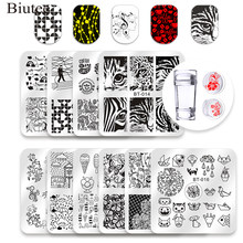Biutee Square Nail Stamping Template Set Flower Tiger Animal Pattern 6*6cm Nail Art Stamp Template Image Stencils Tools Kits(China)