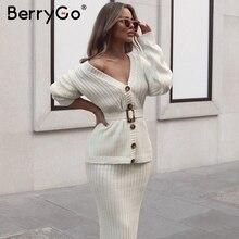 BerryGo 2 ชิ้นผู้หญิงชุดถักชุด Elegant ฤดูใบไม้ร่วงฤดูหนาวเสื้อกันหนาวชุดสูทแขนยาว sashes PURE กระโปรงชุด