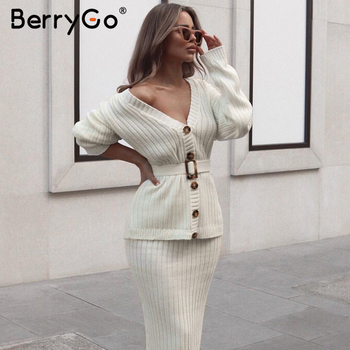 BerryGo Two-piece women knitted dress set Elegant autumn winter sweater dress suits Long sleeve button sashes pure skirt suit