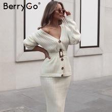 BerryGo dwuczęściowy zestaw damski z dzianiny sukienka elegancki jesienno zimowy sweter sukienka garnitury długi guzik na rękawie szarfy czysty spódnica garnitur