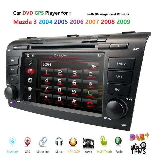 Remote control Car DVD player for Mazda 3 2004 2009 USB SD Bluetooth Steering Wheel Control Multimedia System DAB Free map card