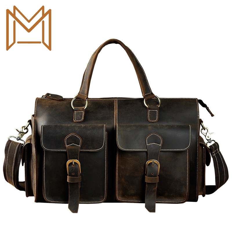 Head Layer Crazy Horsehide Cowhide Genuine Leather Man 14 Inch Business Affairs Portable Document Computer Package