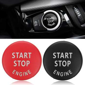 Red/Black Car Start Stop Engine Button Switch Cover Trim Cap For BMW X5 E70 X6 E71 3 E90 E91 E92 E93 With Installation Tool image