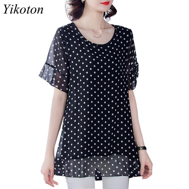 Summer Dress Shirts Women Blouse And Top Loose Plus Size Tunic 2021 Fashion Blouses Short Sleeve Chiffon Print O-Neck Feminine 1