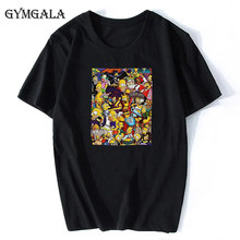 100% Cotton Simpson Anime Cute Printed Round Neck Short Sleeve Fashion Casual Top Unisex Street Clothing Hip Hop Personality Fun(China)