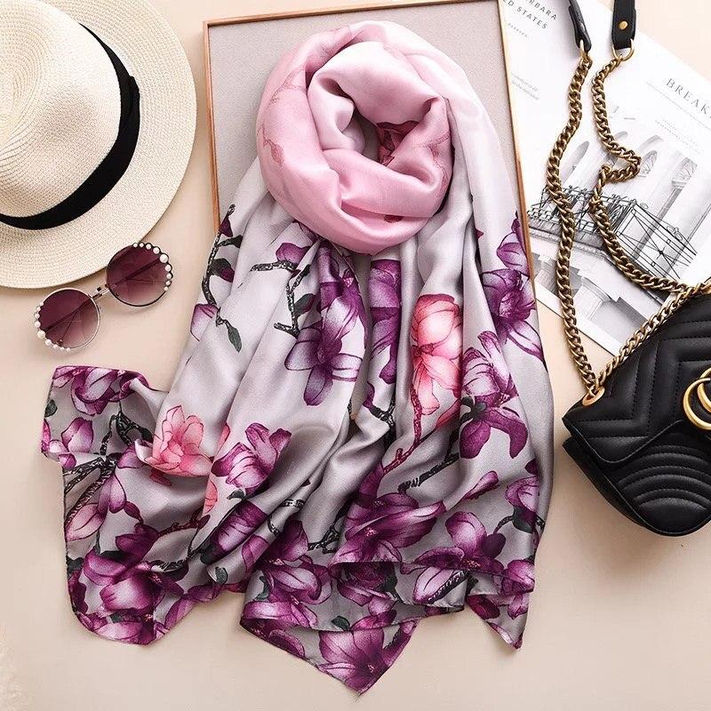 2020 New Style Women Fashion Popular Beach Quality Shawl Silk Lady Autumn And Winter Beautiful Print Luxury Scarves Hijab