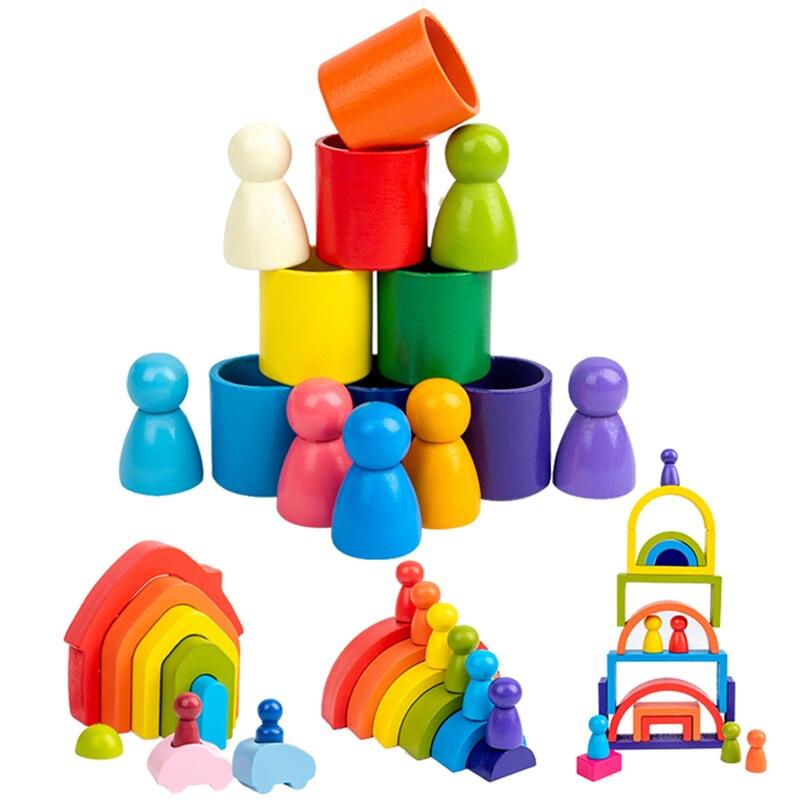 Bois arc-en-ciel arqué blocs de construction Montessori jouets éducatifs empilage équilibre Jenga jeu éducation précoce enfants jouets nouveau