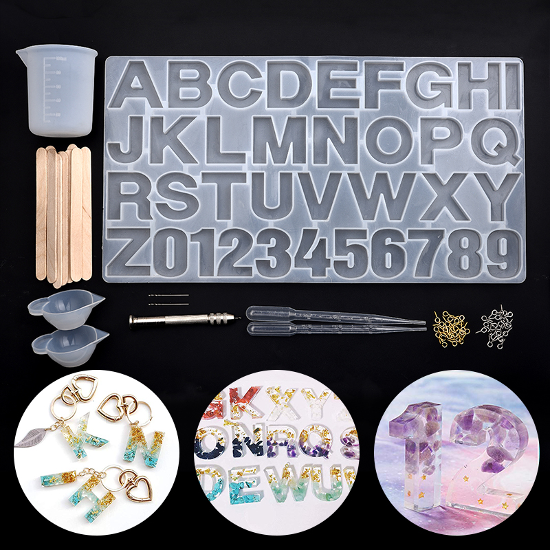 Resin Jewelry Silicone Mold  Alphabet Letter Resin Molds UV Resin Jewelry Necklace Making Tools Set