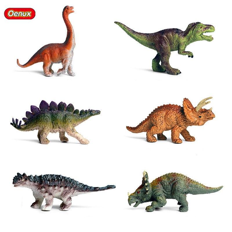 Oenux 6 шт. мини-модель Юрского периода Stegosaurus Saichania твердый ПВХ Динозавр мир Животных Фигурки героев коллекционные игрушки для детей
