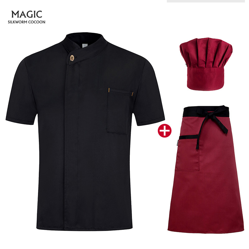Restaurant Kitchen Chef Uniform Short Sleeve Chef Clothes Chef Jacket Cook Coat Hotel Bakery Pastry Cafe Overalls High Quality