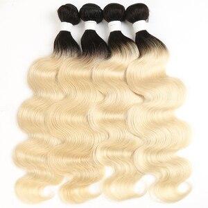 Image 2 - Platinum Blonde 613 Bundles Brazilian Body Wave 100% Remy Human Hair Bundles 8 26inch Ombre Blonde Bundle Hair Weaving Euphoria