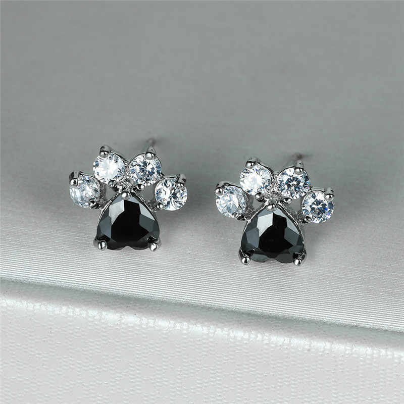 Cute Cat Paw Dog Claw Black Stone Heart Zircon Stud Earrings For Women Wedding Jewelry Vintage Fashion Silver Color Tiny Earring