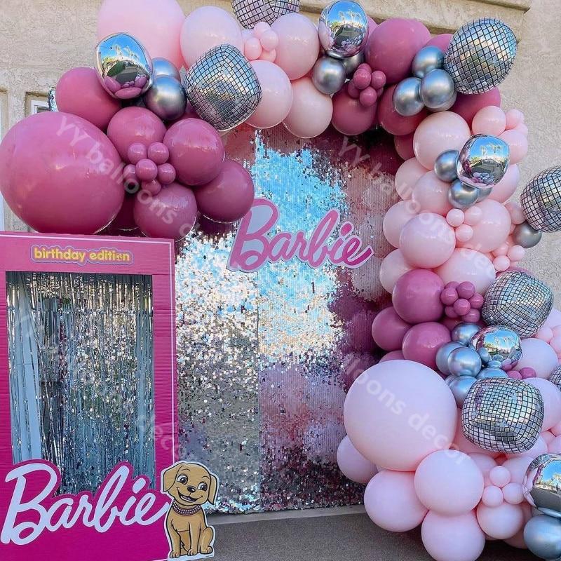 DIY Macaron Baby Pink Balloon Garland Arch Kit 22inch Disco 4D Ball My 1st Party Decorations Kids Baby Boy Girl Garland Supplies