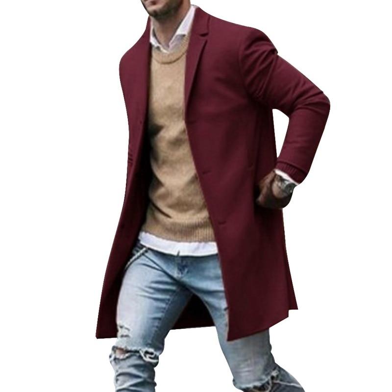 2019 Winter Wool Jacket Men's High-quality Wool Coat Casual Slim Collar Woolen Coat Men's Long Cotton Collar Trench Coat 8