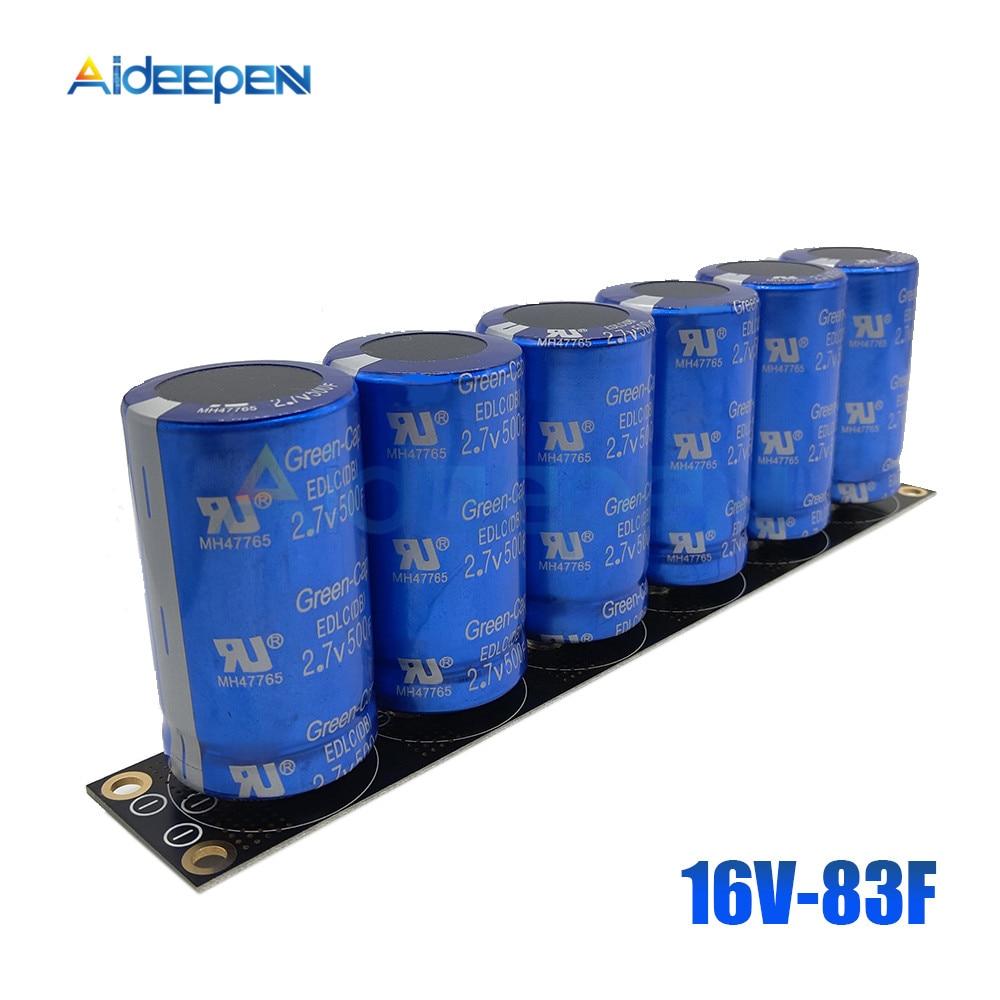 6 Pcs/1 Set Farad Capacitor 2.7V 500F Super Capacitance 16V 83F Super Farad With Protection Board Car Automotive Ultracapacitor|Capacitance Meters| |  - title=