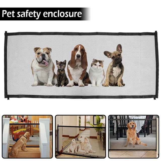 pet safety door Magic Pet Dog Gate Pet Fence Barrier Cat Dog Door Foldable Safety Ramps Guard Indoor Outdoor Puppy Dog Mesh Gate 1