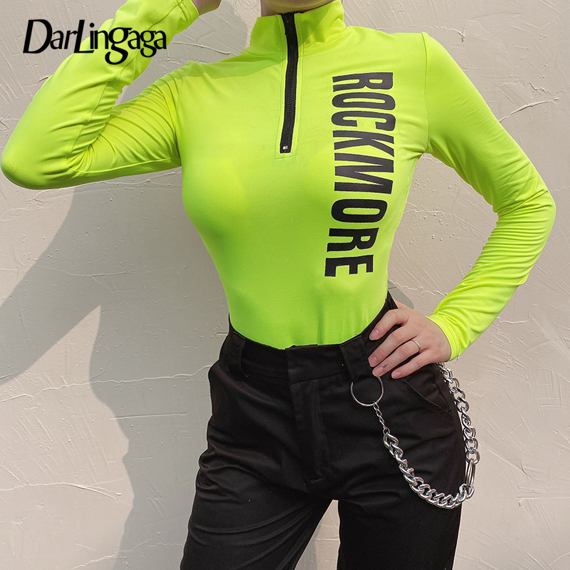 Darlingaga Casual Neon Fitness Autumn Body Women Bodysuit Zipper Letter Print Half Turtleneck Long Sleeve Bodysuits Outfits 2019