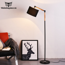 Modern Minimalism Led Floor Lamp Black Fabric Lamp Stand Solid Wood Home Art Decor Standing Lamp Living Room Study Floor Light