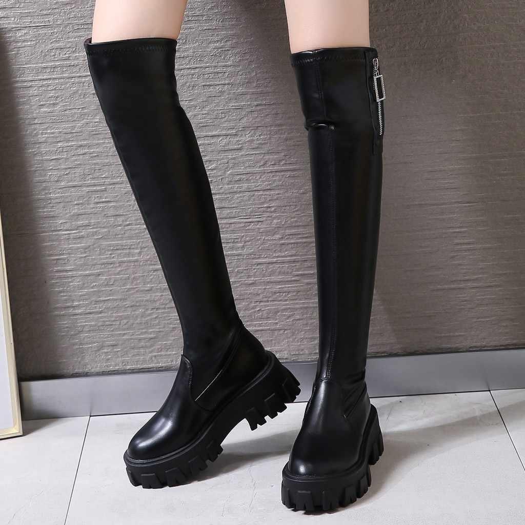 Kadın yan Zip diz yüksek uzun çizmeler motosiklet kalın alt diz çıplak Martin çizmeler rahat siyah uzun tüp patik botas mujer
