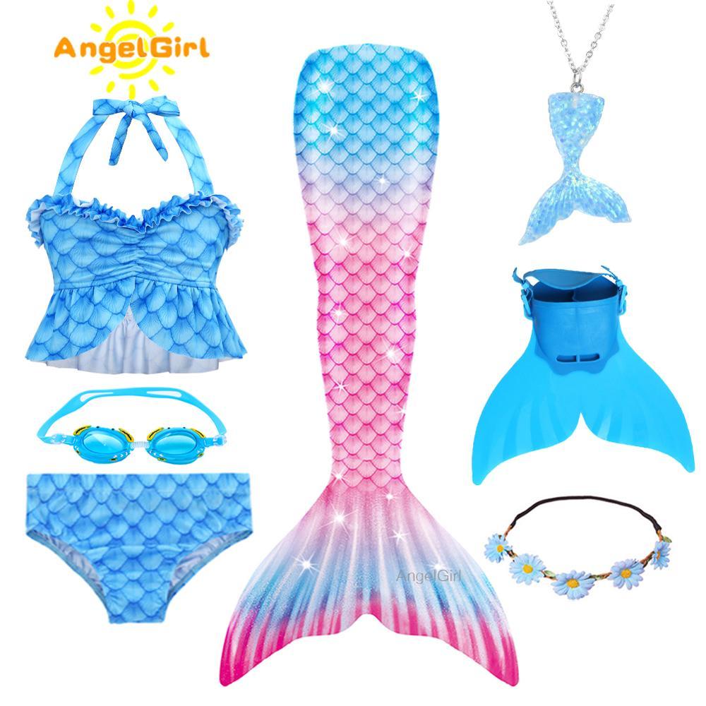 AngelGirl Wunderschöne Mädchen Schwimmen Meerjungfrau Schwanz Mit Bikini Meerjungfrau Prinzessin Copslay Kostüm Kind Party High-elastische Sommer Kleid