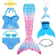 AngelGirl-Disfraz de sirena para niña, traje de baño con cola de sirena, disfraz de princesa, Cosplay para Fiesta infantil, vestido de verano muy elástico