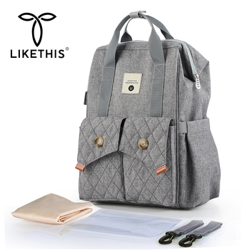 LIKETHIS Hot Mummy Backpack Organizer Bag For Baby Stroller Large Waterproof Rucksack Women Maternity Nappy Bag Baby Diaper Bags цена 2017