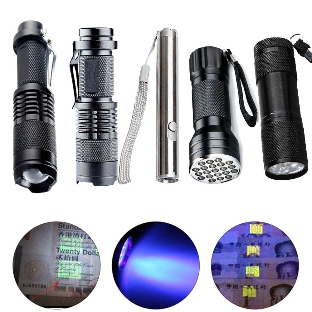 Mini 9/21LED ไฟฉาย UV Ultra VIOLET Light Ultraviolet ไฟฉาย Ultra VIOLET หมึกที่มองไม่เห็น MARKER ไฟฉายแบตเตอรี่