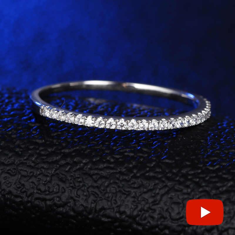 รอบตัดไม่ปลอม S925 แหวนเงิน SONA เพชร Halo แหวน Fine ที่ไม่ซ้ำกันสไตล์รักหมั้น