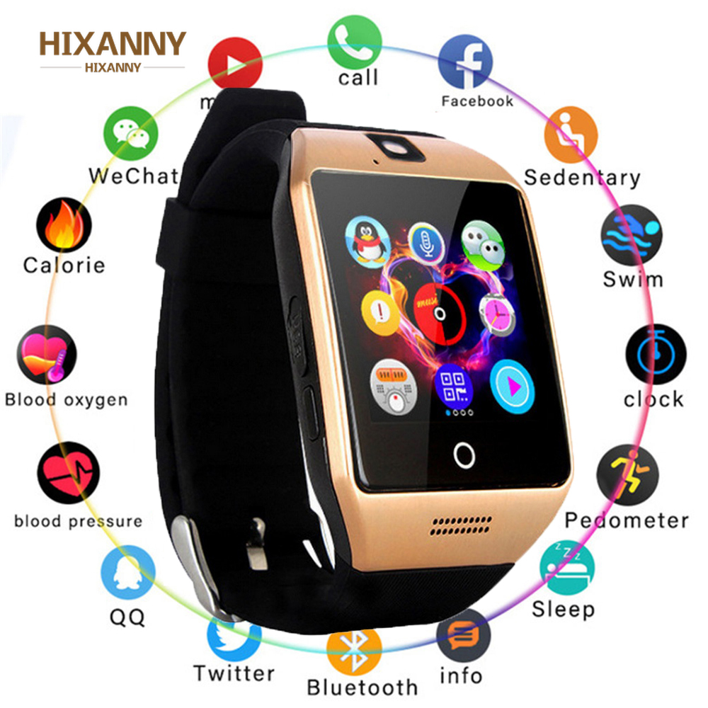 New Bluetooth Smart Watch Q18 Fitness Tracker Touch Screen Support APP Download TF Sim Card Camera Dial /Call for Android Phone image