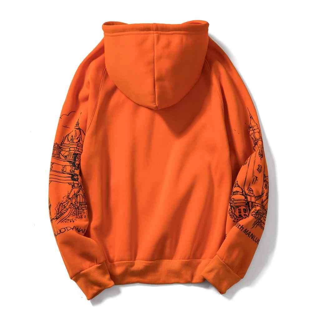 FGKKS 인쇄 남성 후드 티 스웨터 가을 남성 힙합 패션 캐주얼 남성 후드 티 스웨터 EU 크기