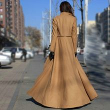 Winter Vrouwen Wollen Maxi Lange Overjas Streetwear Splice Rits Office Dames Bovenkleding Runway Wol Blends Jas Windjack(China)