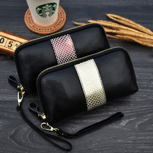 women's wallet genuine leather clutch bag zipper Organizer wallets Cow leather Serpentine monederos para mujer 2020 New wallet