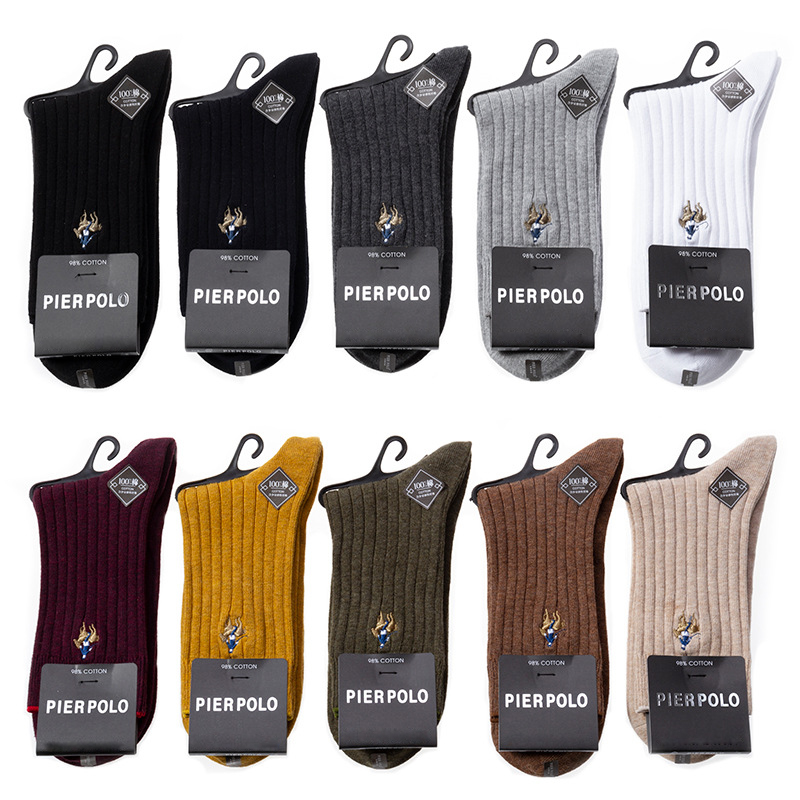 PIER POLO Socks Winter Brand Men Socks 97% Cotton Compression Socks Deodorant Embroidery Fashion Dress Crew Socks Men