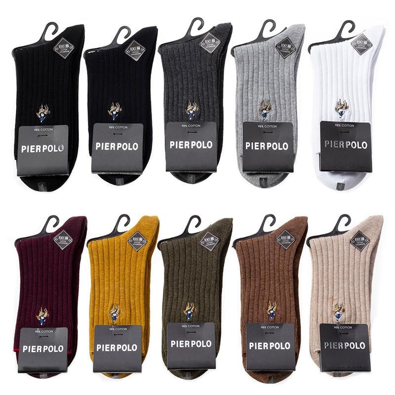 PIER POLO Socks Winter Brand Men Socks 97% Cotton Compression Socks Deodorant Embroidery Fashion Dress Crew Socks Men