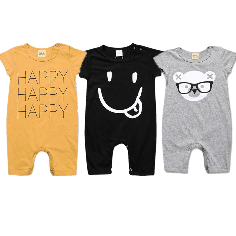 2020 Summer Newborn Baby Girl Clothes Cute Cartoon Boy Romper Unisex Kids Rompers Costumes Short Sleeve Cotton Boy Jumpsuit 2019