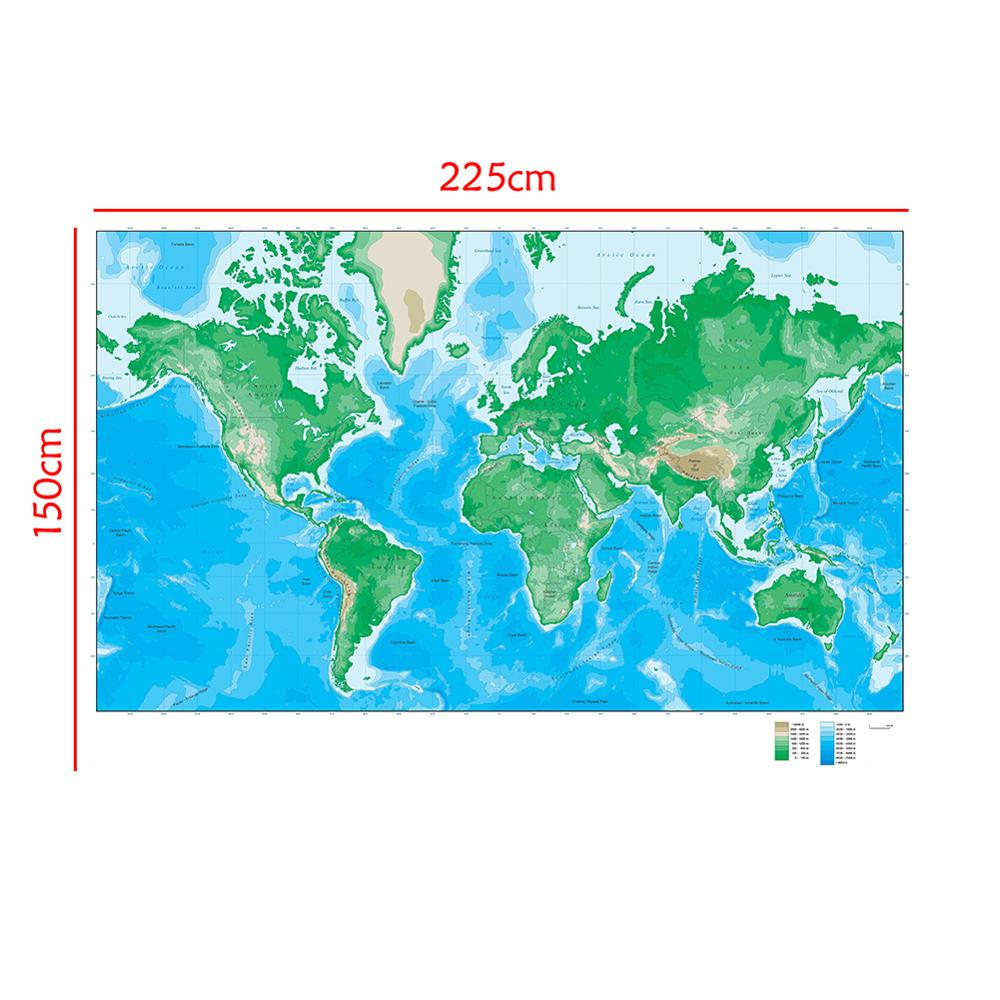The World Elevation Map 150x225cm Foldable Non-woven Map For Geological Research
