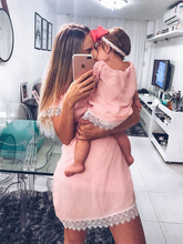 Europe and the United States new explosion models solid color stitching parent-child mother and daughter long-sleeved dress lace 2019 explosion models europe and the united states sling v neck long dress print chiffon backless beach high quality