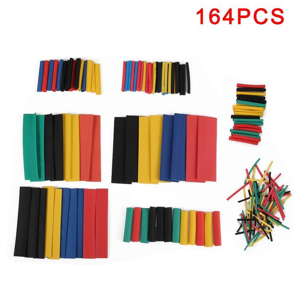 164PCS Heat Shrink Tubing Polyolefin Electrical Wrap Wire Cable Sleeves PE Insulation 2:1Shrinkable Tube Assortment Kit