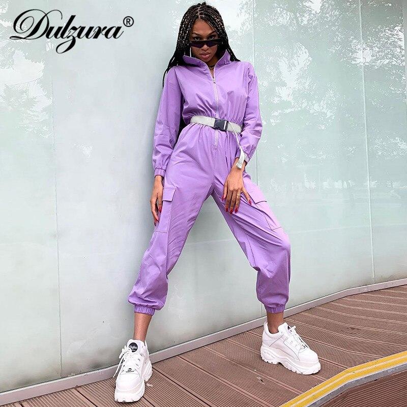 Dulzura 2019 de inverno mulheres outono macacão streetwear calças cargo macacão romper cinto dropship one piece corpo festival roupas