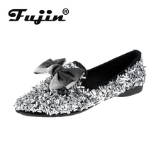 Fujin Autumn Crystal Flats Mules Lady Sandals Slip on Slippers Pointed Toe Mules Outdoor Shoes Butterfly Knot Woman Single Shoes handmade navy blue pointed toe flats woman navy dress shoes with crystal charms
