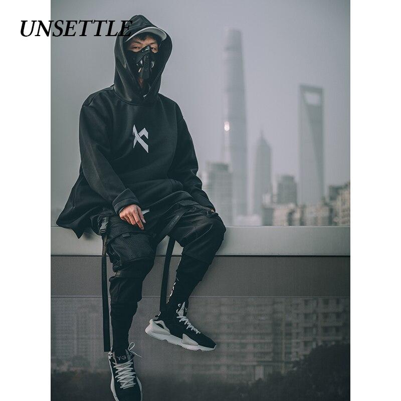 UNSETTLE japanese sweatshirt Mens Oversize Hoodies Long Cloak Hip Hop Gothic Outwear Streetwear Coat Harajuku Style Male Tops 3