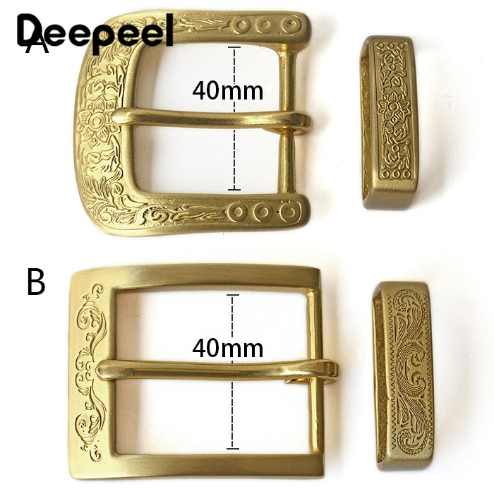 Deepeel 1pc 40mm Pure Brass Copper Pin Buckle Belt Head Carved Men Women Belt Buckle DIY LeatherCraft Accessory For 38-39mm Belt