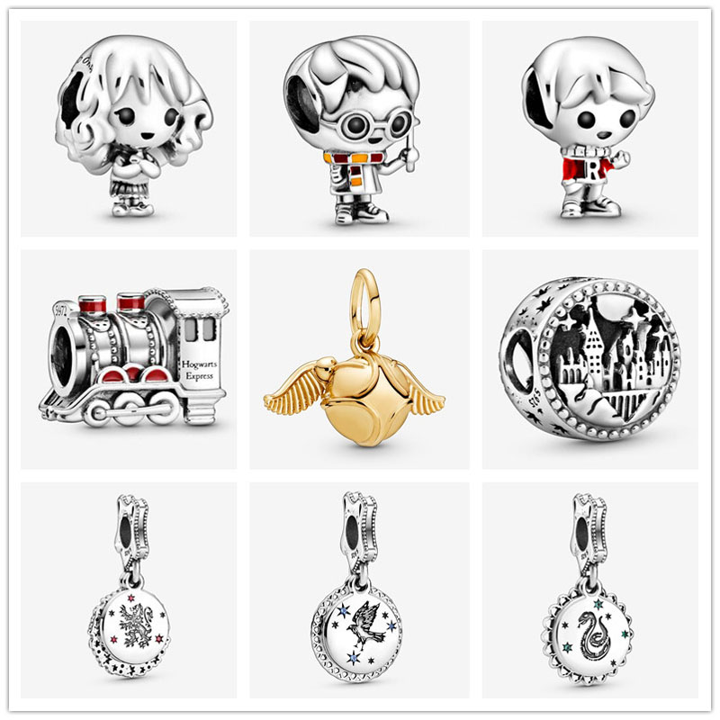 2019 new free shipping potter style School of Witchcraft Hogwarts Express bead fit Original Pandora charms silver 925 bracelet(China)