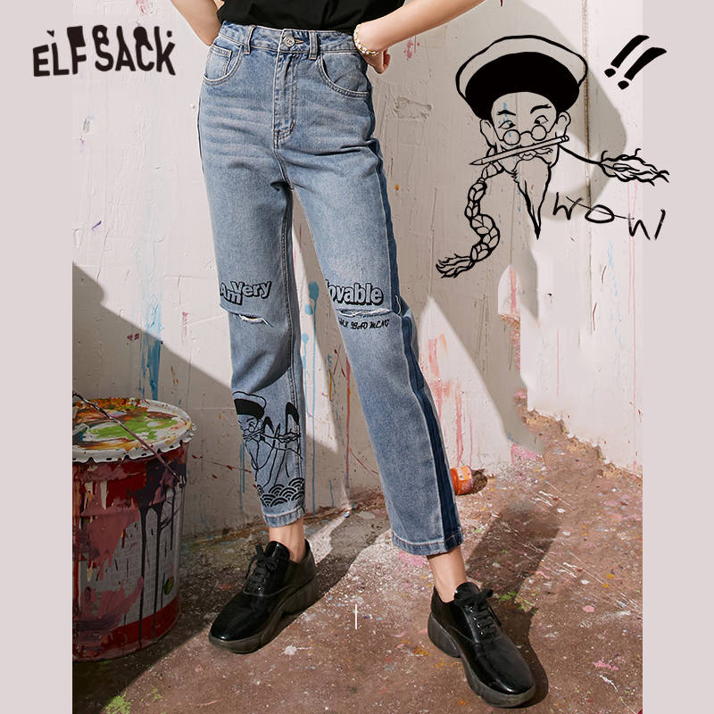 ELFSACK Blue Original Graphic Print Washed Casual Denim Jeans Woman 2020 Summer ELF Ripped Hole Korean Ladies Daily Trousers