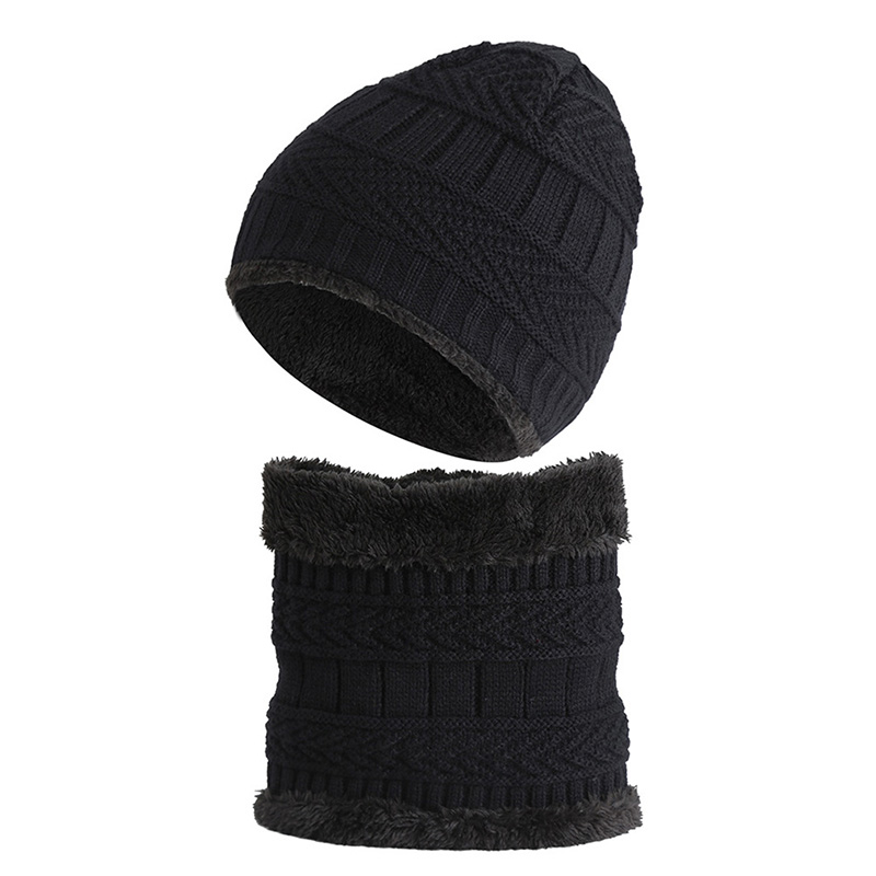 Winter's Children Warm Scarf Hats Set Fashion Solid Warm Knit Caps Scarf Cute Girl Thick Plus Velvet Beanies And Scarf Sets