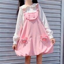 Japońska miękka dziewczyna słodka śliczna sukienka sztruksowa kobiety Lolita Kawaii wzburzyć różowy pasek sukienka nastolatka jesień bez rękawów Vintage kombinezony