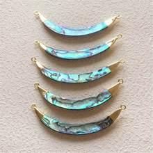 FUWO ciondolo a doppio anello con conchiglia in Abalone naturale con gioielli in corno lungo di personalità della moda placcati in ottone dorato per donne PD501